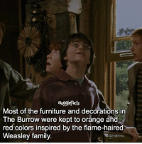 "qotd : comment ""😏"" if you knew this and ""😱"" if you didn't.: mugglefacts  Most of the furniture and decorations in  The Burrow were kept to orange and  red colors inspired by the flame-haired  Weasley family. qotd : comment ""😏"" if you knew this and ""😱"" if you didn't."