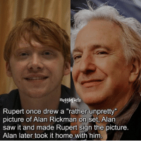 """Memes, Saw, and Alan Rickman: mugglefacts  Rupert once drew a """"rather unpretty""""  picture of Alan Rickman on set, Alan  saw it and made Rupert sign the picture.  Alan later took it home with him qotd : comment """"😏"""" if you knew this and """"😱"""" if you didn't. Follow my other account: @thehpfilms"""