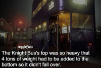 "Fall, Memes, and 🤖: mugglefacts  The Knight Bus's top was so heavy that  4 tons of weight had to be added to the  bottom so it didn't fall over. qotd : comment ""😏"" if you knew this and ""😱"" if you didn't. fc: 81,2k Source: distractify.com"