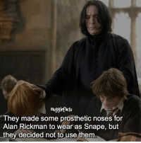 """Memes, Alan Rickman, and 🤖: mugglefacts  They made some prosthetic noses for  Alan Rickman to wear as Snape, but  they decided not to use them qotd : comment """"😏"""" if you knew this and """"😱"""" if you didn't. fc: 99,2k"""