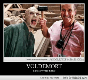 Voldemorthttp://omg-humor.tumblr.com: MUGGLENET MEMES.COM  The #2 most addicting site  VOLDEMORT  Take off your nose!  TASTE OF AWESOME.COM  Like this? You'll hate Voldemorthttp://omg-humor.tumblr.com
