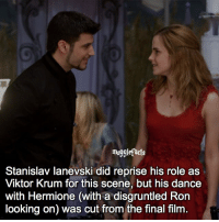 """qotd : comment """"😏"""" if you knew this and """"😱"""" if you didn't. Follow my other account: @thehpfilms: muggletacts  Stanislav Ianevski did reprise his role as  Viktor Krum for this scene, but his dance  with Hermione (with a disgruntled Ron  looking on) was cut from the final film. qotd : comment """"😏"""" if you knew this and """"😱"""" if you didn't. Follow my other account: @thehpfilms"""