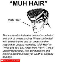 """animE_IRl: """"MUH 33  Muh Hair  This expression indicates Josuke's confusion  and lack of understanding. When confronted  with something he can not understand or  respond to, Josuke mumbles, """"Muh Hair"""" or  """"What Did You Say About Muh Hair?"""" This is  usually followed by him going berserk and  inflicting several million yen worth of property  damage  S CH OLA STI C animE_IRl"""