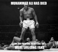 Ali: MUHAMMAD ALI HAS DIED  MEFOREVERYONETO ACT LIKE TH  WERE tIFE LONG FANS Ali