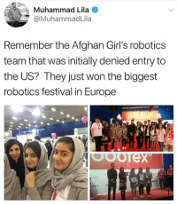 "Basketball, Energy, and Girls: Muhammad Lila  @MuhammadLila  Remember the Afghan Girl's robotics  team that was initially denied entry to  the US? They just won the biggest  robotics festival in Europe  KOOL  ck in Yass!! ❤️💁🏽‍♀️🤖 girlpower 👏🏽 ""Afghanistan's Girl Robotics Team just won the Entrepreneur Challenge at Europe's largest robotics festival, the Robotex festival in Tallinn, Estonia. At Robotex, the team faced off against 3700 other competitors and 1600 robots in a series of competitions, including robot basketball games, races, and mazes. The Entrepreneurial Challenge, in its inaugural year at the competition, requires competitors to build a robot, design marketing flyers, and present a sales pitch to a team of judges. The winning robot, presented by three members of the Afghan team, used solar energy to work on small-scale farms, the New York Times reported And that's not the first international robotics award the twelve girls from Herat have bagged. In July, they took home a silver medal for courage in the FIRST Global Challenge in Washington, D.C. For any group of teenagers, those would be an impressive set of achievements, but these six girls come from a country where two-thirds of girls never make it to school at all, according to Human Rights Watch."" VIA Forbes girlsintech stem tech NoMuslimBan leanin woc"