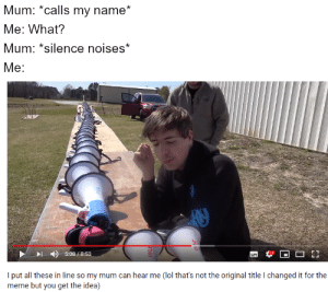 Lol, Meme, and Silence: Mum: *calls my name*  Me: What?  Mum: *silence noises*  Me:  -4)  5:08 / 8:53  put all these in line so my mum can hear me (lol that's not the original title I changed it for the  meme but you get the idea) Are you seriously gonna scroll by without breathing?