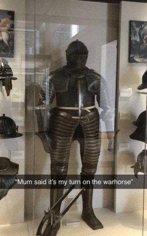 "30 Funniest Classical Art Memes For Art Lovers-29: ""Mum said it's my turn on the warhorse"" 30 Funniest Classical Art Memes For Art Lovers-29"