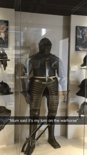 Classical Art, Turn, and  Said: Mum said it's my turn on the warhorse""