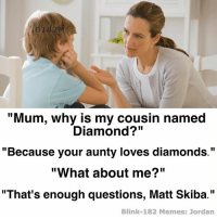 """Mum, why is my cousin named  Diamond?""  ""Because your aunty loves diamonds.""  ""What about me?""  ""That's enough questions, Matt Skiba.""  Blink-182 Memes: Jordan There's not enough Skiba memes so here we go. - Jordan"