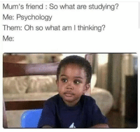 Memes, Psychology, and Science: Mum's friend So what are studying?  Me: Psychology  Them: Oh so what am I thinking?  Me: Join our group: Science Memes