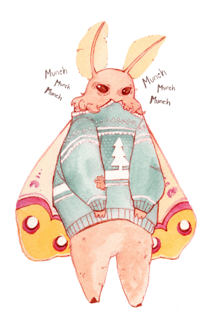 feniczoroark:  pivlywhip: To get into the spirit of the Holidays, please enjoy mothman eating his own Christmas Sweater   @randomnightlord : Munch  Munch  Munch  Munch  Munch  Munch feniczoroark:  pivlywhip: To get into the spirit of the Holidays, please enjoy mothman eating his own Christmas Sweater   @randomnightlord