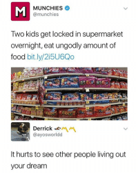 So true 😩😩: MUNCHIES  @munchies  Two kids get locked in supermarket  overnight, eat ungodly amount of  food bit.ly/2i5U6Qo  Derrick-  @ayosworldd  It hurts to see other people living out  your dream So true 😩😩