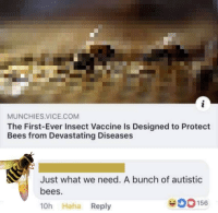 Munchies, Bees, and Haha: MUNCHIES.VICE.COM  The First-Ever Insect Vaccine Is Designed to Protect  Bees from Devastating Diseases  Just what we need. A bunch of autistic  bees  10h Haha Reply  00156 Just what we need.