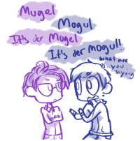 Funny, Target, and Tumblr: Munel  Lt' der moul!  yau  Saying ask-art-student-prussia:  I thought your post was funny so here, some confusion on the word for 'mogul'. (btw what I've seen of your german on here is perfectly fine!)
