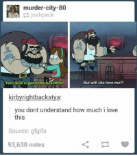 Anime, Beautiful, and Love: murder-city-80  Your wife is gonna be beautiful!  But will she love me?!  kirbyrightbackatya:  you dont understand how much i love  this  Source: gfgifs  93,638 notes  ㄑㄧ :')  ~ All Things Anime & Cartoon