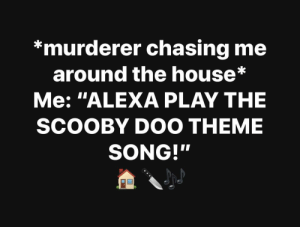 "My Life by 3475H17_JDM MORE MEMES: *murderer chasing me  around the house*  Me: ""ALEXA PLAY THE  SCOOBY DOO THEME  SONG!"" My Life by 3475H17_JDM MORE MEMES"