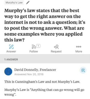"Murphy's Law states…: Murphy's Law  Murphy's law states that the best  way to get the right answer on the  internet is not to ask a question; it's  to post the wrong answer. What are  some examples where you applied  this law?  1  Follow  Answer  Request  More  1 ANSWER  David Donnelly, Freelancer  Answered Nov 20, 2018  This is Cunningham's Law and not Murphy's Law.  Murphy's Law is ""Anything that can go wrong willl go  wrong"" Murphy's Law states…"