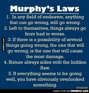 These are some examples of Murphy's Lawomg-humor.tumblr.com: Murphy's Laws  1. In any field of endeavor, anything  that can go wrong, will go wrong.  2. Left to themselves, things always go  from bad to worse.  3. If there is a possibility of several  things going wrong, the one that will  go wrong, is the one that will cause  the most damage.  4. Nature always sides with the hidden  flaw.  5. If everything seems to be going  well, you have obviously overlooked  something.  FUNNY STUFF ON MEMEPIX.COM  MEMEPIX.COM These are some examples of Murphy's Lawomg-humor.tumblr.com
