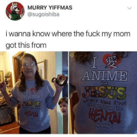 Anime, Fuck, and Turkey: MURRY YIFFMAS  @sugoishiba  i wanna know where the fuck my mom  got this fromm  ANIME  SUS  ANIME  ga turkey