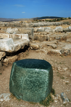 Empire, The Rock, and Tumblr: museum-of-artifacts:    The Green Stone - A massive green rock cube located in the ruins of Hattusa, capital of the Hittite empire. Probably had religious significance, may have been a gift or reparation from an Egyptian pharaoh.     how big the rock on my ring should be fellas take note