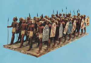museum-of-artifacts:  Wooden model of Egyptian soldiers with spears and hide shields, from the tomb of Mesehti - c. 2000 BC  : museum-of-artifacts:  Wooden model of Egyptian soldiers with spears and hide shields, from the tomb of Mesehti - c. 2000 BC