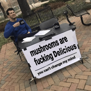 mushrooms: mushrooms are  fucking Delicious  you can't change my mind