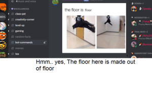 I bad at photoshop: music and voice  ADMIN-1  HH  Spooky  the floor is floor  MISCELLANEOUS  #class-pet  RBDS  MODERATOR-1  # creativity-corner  IYonal  Playing Mario K  # level-up  gaming  TRIAL MOD-2  Ashu22  Playing rObLoX  #random-facts  bot-commands  Borntolo  memes  OMNIPOTENT OWL  tea  Hmm.. yes, The floor here is made out  of floor I bad at photoshop
