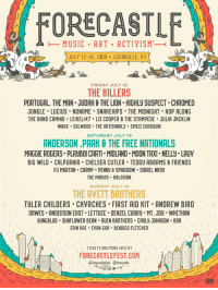 Chelsea, Friday, and Friends: MUSIC ART ACTIVISM  JULY 12-14, 2019 LOUISVILLE, KY  FRIDAY JULY 12  THE KILLERS  PORTUGAL. THE MAN JUDAH & THE LION HIGHLY SUSPECT CHROMEO  JUNGLE LUCIUS NONAME SNAKEHIPS THE MIDNIGHT HOP ALONG  THE BAND CAMINO . LEIKEL147-LIZ COOPER θ THE STAMPEDE . JULIA JACKLIN  WAAX GRLWOOD THE ARTISANALS SPAZZ CARDIGAN  SATURDAY JULY 13  ANDERSON.PAAK&THE FREE NATIONALS  MAGGIE ROGERS PLAYBOI CARTI MIDLAND MOON TAXI NELLY LAUV  BIG WILD CALPURNIA CHELSEA CUTLER TEDDY ABRAMS& FRIENDS  PJ MORTON CAAMP PENNY & SPARROW ISRAEL NASH  THE MARIAS BBLASIAN  SUNDAY JULY 14  THE AVETT BROTHERS  TYLER CHILDERS CHVRCHES FIRST AID KIT ANDREW BIRD  DAWES ANDERSON EAST LETTUCE DENZEL CURRY MT. JO. WHETHAN  YUNGBLUD SUNFLOWER BEAN. RUEN BROTHERS CARLY JOHNSON BOA  ERIN RAE EVAN GIIA BENDIGO FLETCHER  TICKETS AND MORE INFO AT  FORECASTLEFEST.COMEEL  @forecastlefest forecastle