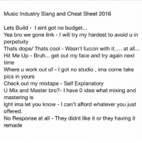 Bruh, Dope, and Memes: Music Industry Slang and Cheat Sheet 2016  Lets Build laint got no budget...  Yea bro we gone link l will try my hardest to avoid u in  perpetuity  Thats dope/ Thats cool Wasn't fuccin with it  at all  Hit Me Up Bruh... get out my face and try again next  time  Where u work out of l got no studio  ima come take  pics in yours  Check out my mixtape Self Explanatory  U Mix and Master bro?- l have 0 idea what mixing and  mastering is  lght ima let you know l can't afford whatever you just  offered.  No Response at all They didnt like it or they having it  remade tag a local rapper