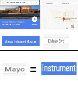 Music, History, and Reviews: musical instrument museumX  EMayo Blvd  E Mayo Blvod  Music Theater  Musical Instrument  Museum  History of instruments...  Musical Instrument Museum  4.8 *.1,164 reviews  Museum  Directions  Musical Instrument Museum  E Mayo Blvd  Mayo  Instrument Mayonnaise_irl