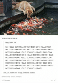 Hello, Memes, and Music: musical murderscene.  Dog: Hello koi!  Koi: HELLO DOG! HELLO DOG! HELLO DOG! HELLO DOG!  HELLO DOG! HELLO DOG! HELLO DOG! HELLO DOG! HELLO  DOG! HELLO DOG HELLO DOG! HELLO DOG! HELLO DOG!  HELLO DOG! HELLO DOG! HELLO DOG! HELLO DOG! HELLO  DOG! HELLO DOG! HELLO DOG! HELLO DOG! HELLO DOG!  HELLO DOG! HELLO DOG! HELLO DOG! HELLO DOG! HELLO  DOG! HELLO DOG HELLO DOG! HELLO DOG! HELLO DOG!  HELLO DOG! HELLO DOG! HELLO DOG! HELLO DOG! HELLO  DOG! HELLO DOG! HELLO DOG! HELLO DOG!  this just makes me happy for some reason.  derpastrology Source: teenfaggot  797,782 notes The Best of Doggos