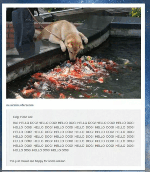 Hello, Fish, and Happy: musicalmurderscene  Dog: Hello koi!  Koi: HELLO DOGI HELLO DOG!I HELLO DOG! HELLO DOGI HELLO DOGI HELLO DOG  HELLO DOGI HELLO DOG! HELLO DOGI HELLO DOGI HELLO DOGI HELLO DOG  HELLO DOG! HELLO DOG! HELLO DOGI HELLO DOG! HELLO DOG! HELLO DOG  HELLO DOG! HELLO DOG! HELLO DOG! HELLO DOG! HELLO DOG! HELLO DOG!  HELLO DOG! HELLO DOG! HELLO DOG! HELLO DOG! HELLO DOG! HELLO DOG  HELLO DOG! HELLO DOG! HELLO DOG! HELLO DOG! HELLO DOG! HELLO DOG  HELLO DOG! HELLO DOGI HELLO DOG!  this just makes me happy for some reason These fish arent being very Koi.