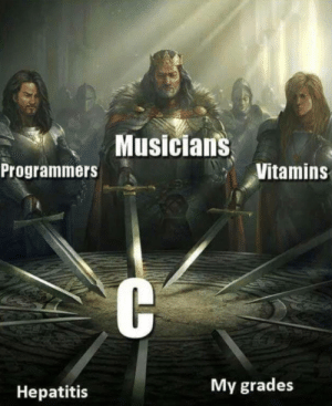 Hepatitis, Vitamins, and Post: Musician's  Programmers  Vitamins  My grades  Hepatitis I prefer C# myself, but since everyone else here agrees… (X-post from r/musicmemes)