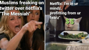 "Meme, Netflix, and Twitter: Muslims freaking on  twitter over netflix's  ""The Messiah""  Netflix: I'm in ur  mindz,  profitting from ur  fearz""  $$  imgflip.com Some of you are too young to remember this meme"