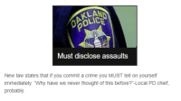 """Crime, Tumblr, and Never: Must disclose assaults  New law states that if you commit a crime you MUST tell on yourself  immediately. """"Why have we never thought of this  probably  before?""""-Local PD chief,"""