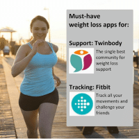 Best apps to motivate yourself on your weightlossjourney! We have found the two most useful apps for you. These will give you the support you need and be able to keep track of everything. . Twinbody (@twinbody) is a must for weight loss motivation. This free weight loss community connects you with people just like yourself; same height, age, current weight and goal weight! . Fitbit (@fitbit) is really useful to track all your activity. You can also challenge your friends using this app! . weightloss weightlossapps freeapps weightlosstips weightlosscommunity fitfam twinbody bestapps weightlosssupport weightlossmotivation diet diettips: Must-have  weight loss apps for:  Support: Twinbody  The single best  community for  weight loss  support  Tracking: Fitbit  Track all your  movements and  challenge your  friends Best apps to motivate yourself on your weightlossjourney! We have found the two most useful apps for you. These will give you the support you need and be able to keep track of everything. . Twinbody (@twinbody) is a must for weight loss motivation. This free weight loss community connects you with people just like yourself; same height, age, current weight and goal weight! . Fitbit (@fitbit) is really useful to track all your activity. You can also challenge your friends using this app! . weightloss weightlossapps freeapps weightlosstips weightlosscommunity fitfam twinbody bestapps weightlosssupport weightlossmotivation diet diettips