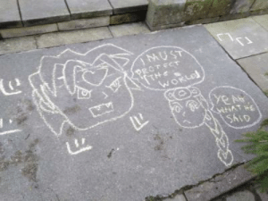 World, Salo, and Pavement: MUST  PROT ECT  THe  WORLD  ye১  WHAT  SALO when I was climate striking on the 29th, I drew this on the pavement