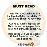 Memes, India, and Band: MUST READ  India Mei 1000Ladko pe 943  Ladkiyo ka Ratio Hai. Matlab 57  Ladke Bina Shaadi ke rehte Hai.  Aur ye 57 'Ladke' aage jaakar  Abdul Kalam, Vaajpayee, Ratain  Tata, Yogi aur Modi Bante Hai.  Baki Bache 943 Ladke 'Cooker  ki Seeti' Bajne ke baad Gas  band karte hai.  /Bcbaba Ham bhi un Ladko ki List Mei aate Hai jinki Ginti Aasaani se ho.. bcbaba