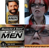 Beard, Gucci, and Memes: Mustache Beard  JUST FOA  AMEN  M-55  Mustache & Beard  JUST FOA  AMEN  BRUSH IN COLOR GEL  52 REAL BLACK  MIMA  Gucci GAMEBOY