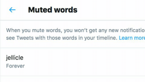 getting ahead of this https://t.co/BX8mbFldJs: Muted words  When you mute words, you won't get any new notificatio  see Tweets with those words in your timeline. Learn more  jellicle  Forever getting ahead of this https://t.co/BX8mbFldJs