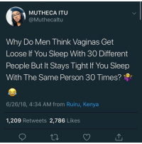 Memes, News, and Sleep: MUTHECA ITU  @Muthecaltu  Why Do Men Think Vaginas Get  Loose If You Sleep With 30 Different  People But It Stays Tight If You Sleep  With The Same Person 30 Times?  6/26/18, 4:34 AM from Ruiru, Kenya  1,209 Retweets 2,786 Likes Cus y'all a bunch of bigdummydeluxes that's why 😒 shepost♻♻ via @queef.action.news **These niggas really in the comments proving how stupid they are... Take notes ladies**