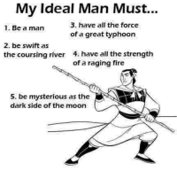 -TheFuturePrincess: Mv Ideal Man Must...  3. have all the force  of a great typhoon  1. Be a man  2. be swift as  the coursing river  4. have all the strength  of a raging fire  5. be mysterious as the  dark side of the moon -TheFuturePrincess
