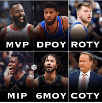 Memes, Nba, and 🤖: MVP DPOYROTY  MIP 6MOY COTY How accurate is this? - nba nbadebate debate jamesharden paulgeorge lukadoncic derrickrose