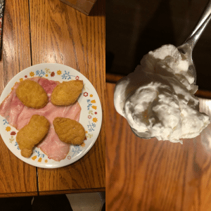 My 12 year old dog Sophie's last meal. McNuggets on a bed of ham and a spoonful of whipped cream.: My 12 year old dog Sophie's last meal. McNuggets on a bed of ham and a spoonful of whipped cream.