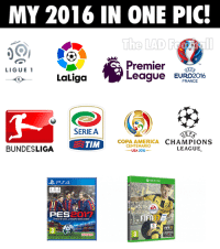 Memes, Copa America, and France: MY 2016 IN ONE PIC!  LIGUE 1  La Liga  eague EURO2016  FRANCE  SERIE A  E F  COPA AMERICA  CHAMPIONS  TIM  CENTENARIO  BUNDESLIGA  LEAGUE  USA 2016  PSA  PES  2017  LEGENDS 😍😍  Via : The LAD Football (y)