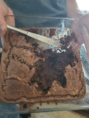 My 3.5 year old ran inside to go to the bathroom, but apparently took a detour for a fistful of brownies. There's literally a handprint in the middle of the pan.: My 3.5 year old ran inside to go to the bathroom, but apparently took a detour for a fistful of brownies. There's literally a handprint in the middle of the pan.