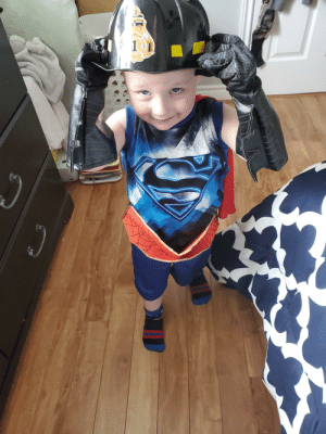 My 3 year is practicing being all his favorite things at once.: My 3 year is practicing being all his favorite things at once.