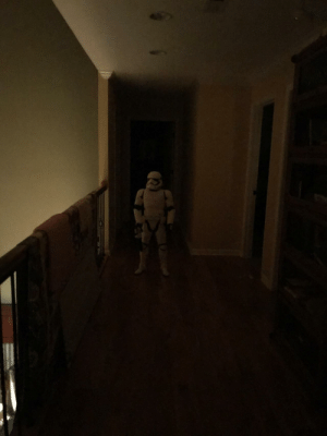 My 4 year old nephew about killed me last night at 2 am. He moved his child sized storm trooper into the hall next to the bathroom.: My 4 year old nephew about killed me last night at 2 am. He moved his child sized storm trooper into the hall next to the bathroom.