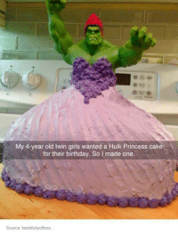 twin girls: My 4-year old twin girls wanted a Hulk Princess cake  for their birthday. So l made one.  Source: tastefullyoffens.