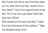 """Be Like, Dank, and Deer: My 5 year old niece saw the blue deer  on my shirt and was like """"awww it's a  boy deer!"""" I took the opportunity to be  like """"Or it can be a girl deer! Girls like  blue too, Olivia""""  She stared at me and was like """"I said  it's a boy because it has antlers."""" Take  my degree away now."""